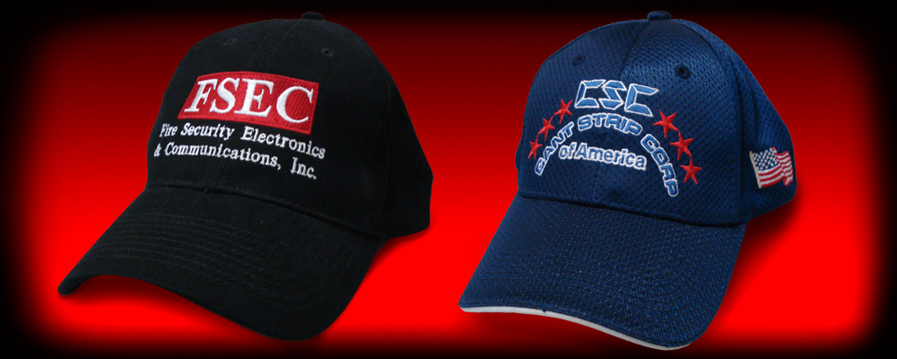 Embroidered hats for Fire Security Electronics and Cant Strip Corp