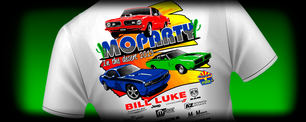 Screen Printing for the 2013 Moparty in the desert car show